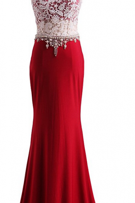 Red Lace Prom Dresses,Long Mermaid Prom Dress,Beaded Formal Gown,Beadings Prom Dresses