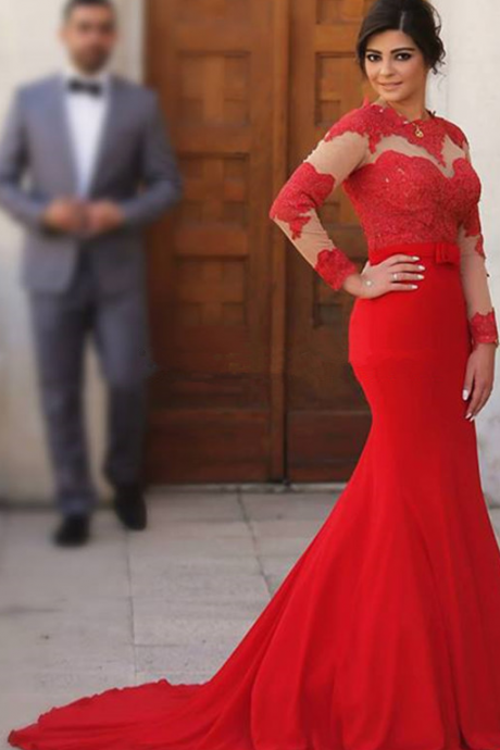 Red Long Prom Dresses, Mermaid Evening Dresses,Full Sleeve Chiffon Formal Gown