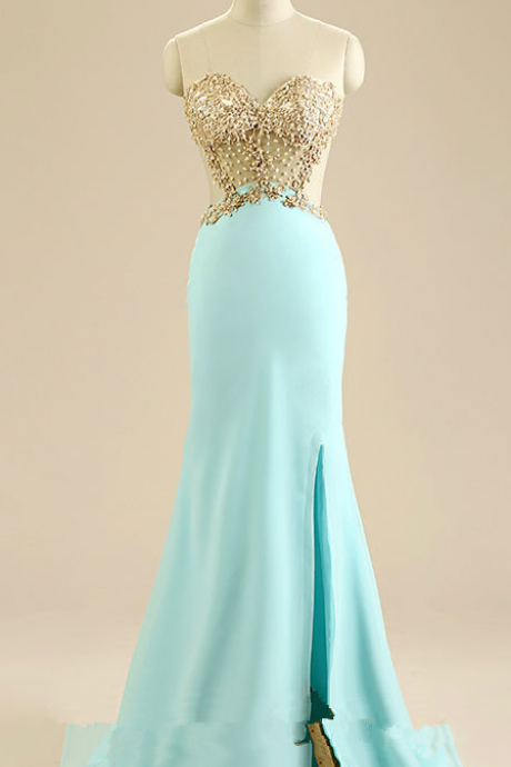 Front Slit Prom Dresses, Mermaid Evening Dresses,Champagne Appliques Sweetheart Prom Dress