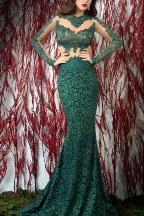 Hunter Green Evening Dresses, Lace Evening Dress, Long Sleeve Evening Dress, Mermaid Evening Dress