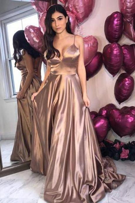 Spaghetti Straps Long Prom Dress,Evening Party Gowns Formal Gowns