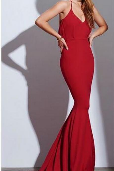 Red V-Neck Mermaid Long Prom Dress, Evening Dress Featuring Crisscross Cowl Back,Party Gowns, Formal Gowns