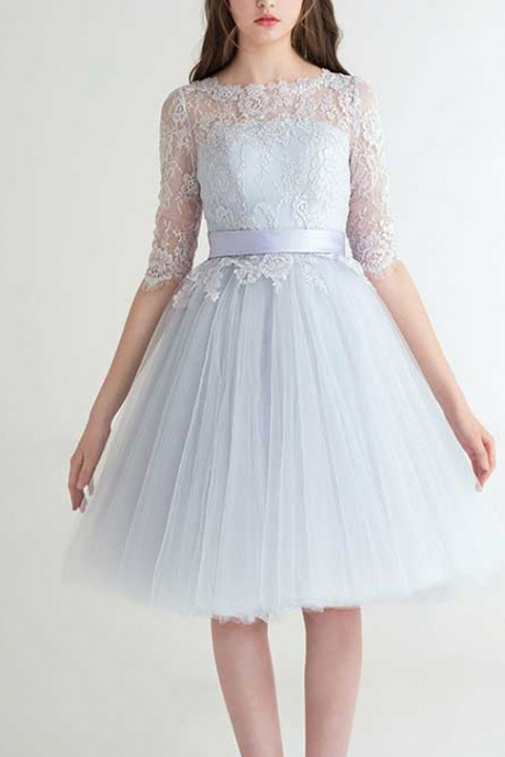 Fashion A-Line Jewel Half Sleeves Homecoming Dresses,Tulle Tea length Homecoming Dress With Lace