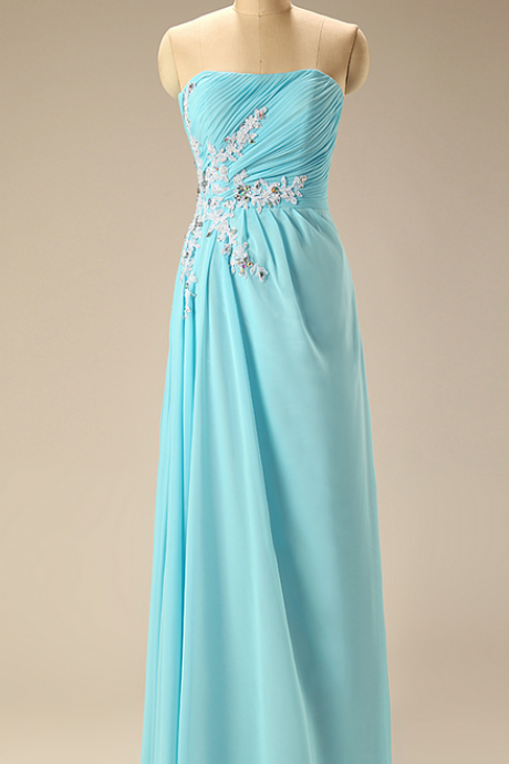 Elegant Turquoise Bridesmaid Dress Strapless with Appliques Chiffon Long Bridesmaid Dresses