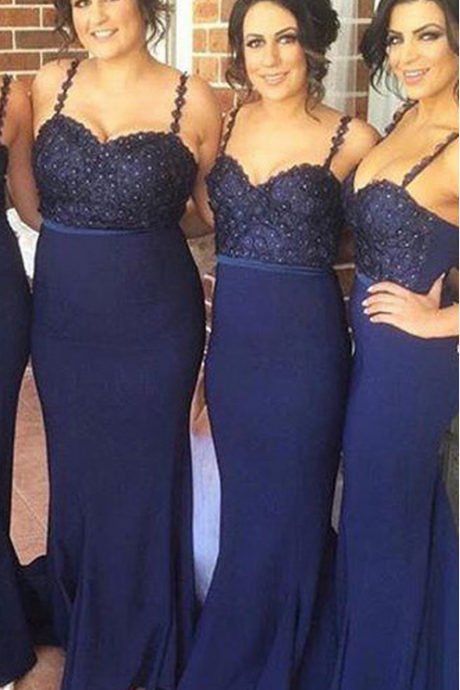 Dark Navy Bridesmaid Dress with Glittering Beads, Trumpet Bridesmaid Dress with Sweep Train, Unique Bridesmaid Dress