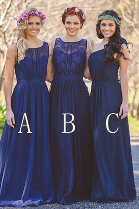 Chiffon Navy Bridesmaid Dress, Lace Bridesmaid Dresses, Mismatched Bridesmaid Dresses, Bridesmaid Dresses