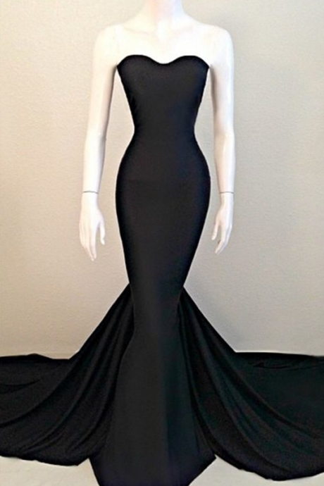Black Mermaid Prom Dresses,Satin Evening Dress
