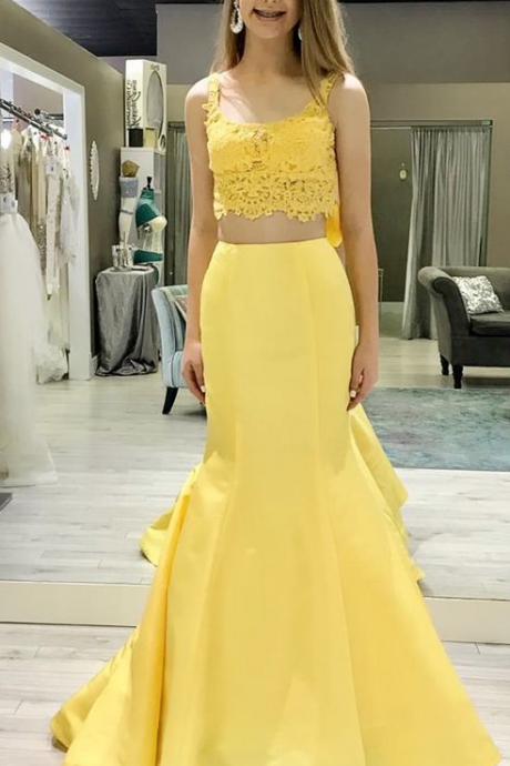 Gorgeous Simple Mermaid Two Piece Yellow Long Prom Dress,Prom Dresses,Satin Evening Dress