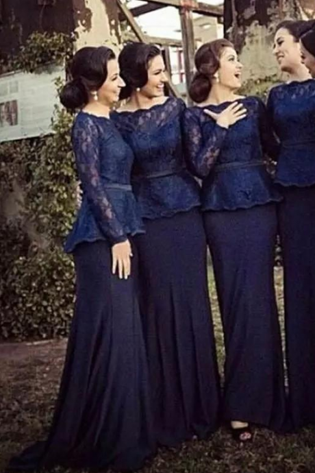 Dark Navy Mermaid Bridesmaid Dresses ,Bateau Neck Long Sleeves Lace Satin Muslim Prom Dresses, Formal Evening Gowns