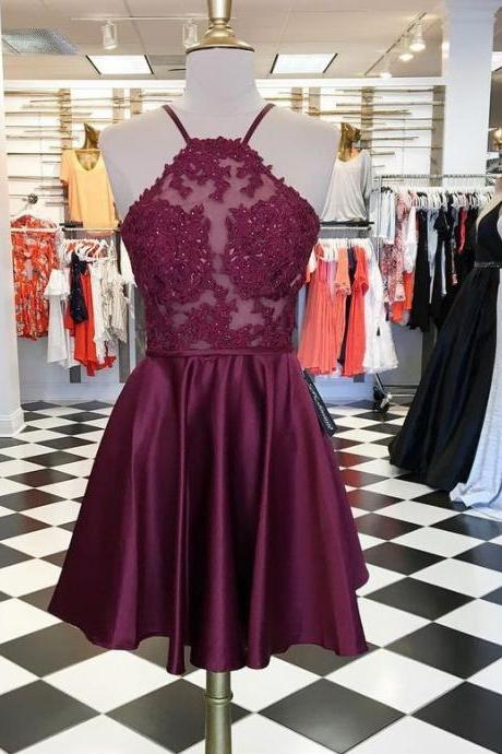 halter short homecoming dresses burgundy with appliques,prom dress, custom made homecoming dress
