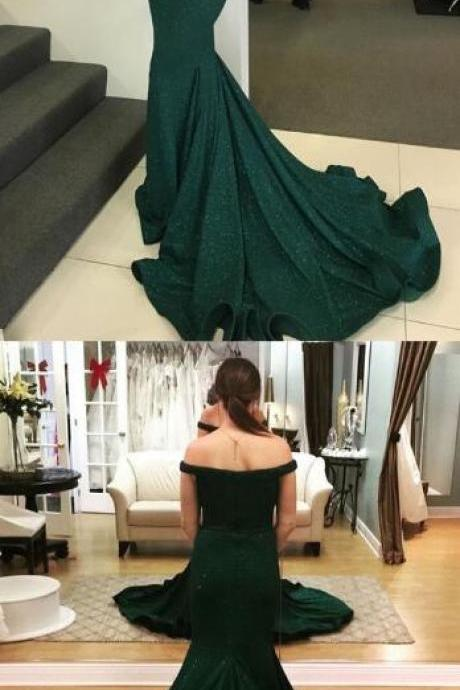 Dark Green Prom Dress with Sequins,Mermaid Prom Dress,Off-the-Shoulder Sweep Train Prom Dresses,modest dark green mermaid prom dresses, elegant off the shoulder evening dresses