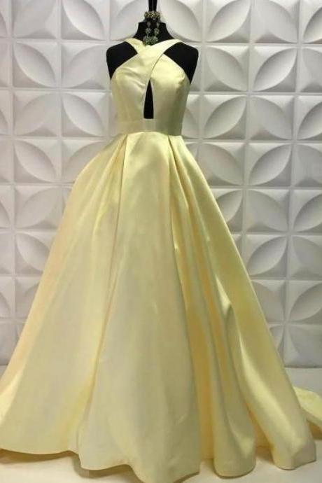 Elegant Yellow Prom Dresses,Sexy Prom Dress,Cheap Prom Dress,Halter Long Prom Dresses with Keyhole, Formal Dresses Long