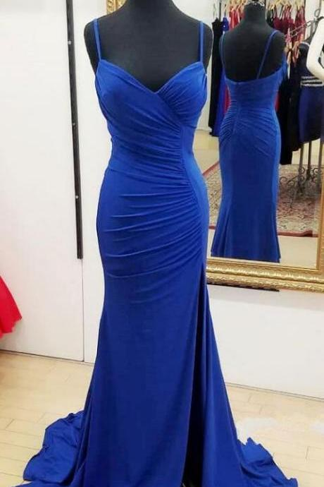 Sexy Long Prom Dress,royal blue prom dresses split side, Cheap Prom Dress,Sexy Prom Dress,spaghetti straps dresses for women