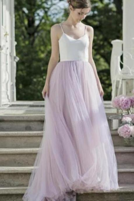 Simple Prom Dress,Women's Sexy Prom Dresses,V Neck Spaghetti Strap PromDress,A line Wedding Dresses Bridal