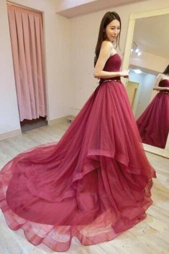 Strapless Prom Dress,Sexy Long PromDress,Tulle Evening Dress, Sexy Long Prom Dress, Formal Prom Dresses
