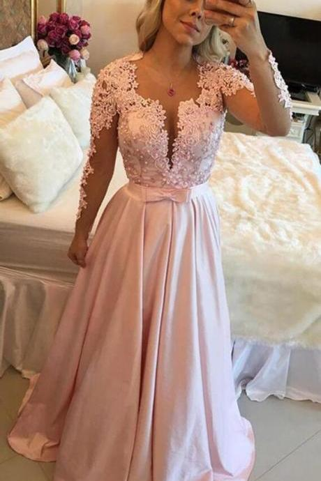 Pink Long Sleeves Prom Dresses,Sexy Prom Dress,Pink Satin Prom Dress,Cheap Prom Dress,A-line Women Formal Gowns,Long Party Dresses for Juniors Girls