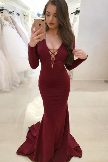 Burgundy Mermaid Prom Dresses,Cheap Prom Dress,Sexy Mermaid Deep V-Neck Prom Dress,Long Sleeves Prom Dress,Backless Sweep Train Prom Dress
