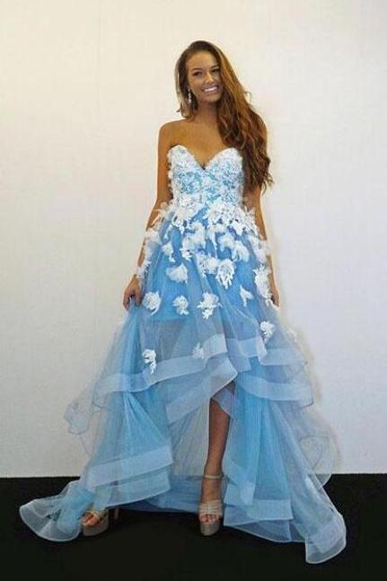 Sweetheart Blue Prom Dresses,Sexy Prom Dress,Cheap Prom Dress,Tulle Lace Prom Dress,High Low Party Dress,Applique Blue Evening Dress