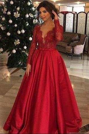 Sexy V Neck Prom Dresses,Applique Long Sleeves Prom Dress,Modest Red Lace Prom Dresses, Formal Evening Dress ,Floor Length A Line Party Gowns