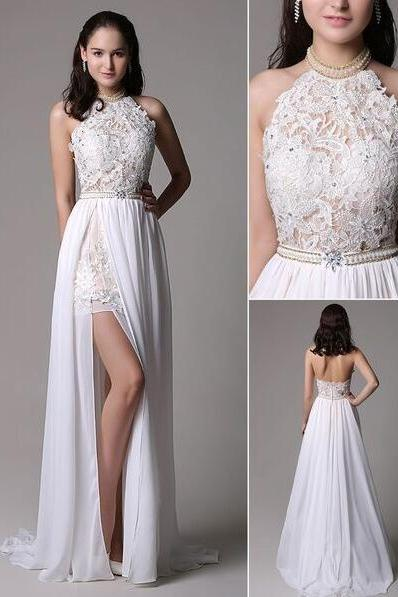 Long Ivory Prom Dresses,Lace Evening Dress,CHiffon Prom Dress,White Prom Dresses,Halter Backless Evening Dress ,Lace Applique Beading Chiffon Prom Dress,Split Party Dress