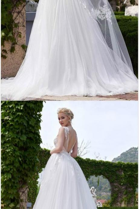 Sleeveless Wedding Dresses, Sexy V-Back Bridal Dress, Long Wedding Dress, Tulle Wedding Dress, Applique Wedding Dress, Charming Wedding Dress