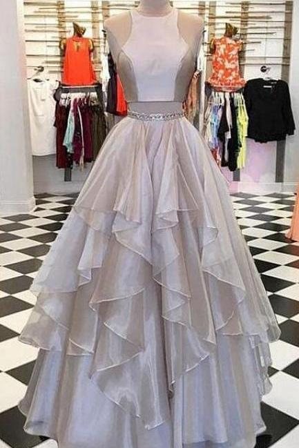 Long Prom Dresses,A Line Prom Dress,Sexy Prom Dress,Two pieces long prom dress, evening dress