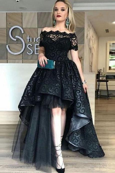 black off shoulder prom party dresses, fashion formal evening gowns with appliques, chic black hi-low dresses for special occasion