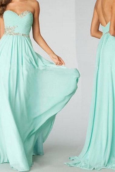 Custom made Strapless Long Bridesmaid Dresses, Formal Evening Dress ,Prom Party Gown, Mint Prom Dresses, Beaded Chiffon Graduation gown ,Pageant Gown Bridesmaid Dress