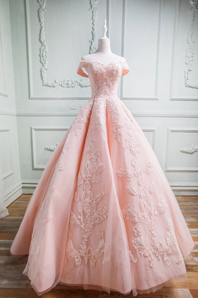 Spring Pink Tulle Sweetheart Neckline Prom Dress,Off Shoulder Ball Gown Prom Dresses, Long Formal Evening Dress