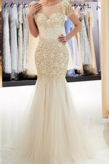 New Designer Sexy Gold Gray Mermaid Prom Dresses, Beads Crystals Bling Bling Prom Dress,V Back Sheer Neck Tiered Prom Dresses,Tulle Floor Length Evening Gowns