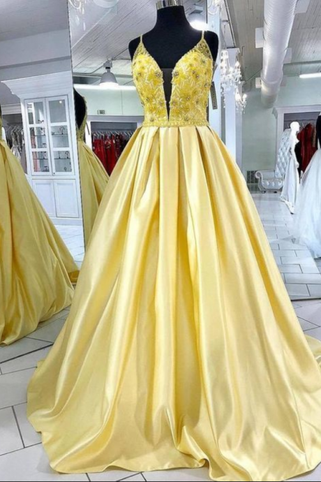 Fabulous Elegant Spaghetti Straps Prom Dresses,Beading Yellow Formal Prom Dress