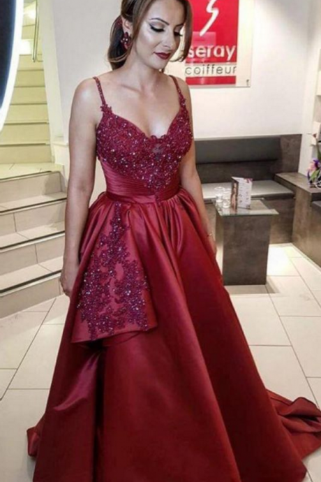 Charming Spaghetti Straps Dark Burgundy A Line Prom Dress with Appliques, Long Evening Dress