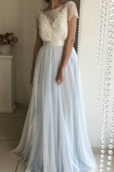 Light Blue Prom Dresses,Short Sleeves Prom Dress,Tulle Prom Dress,Backless Prom Dresses