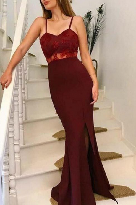Spaghetti Straps evening dress, Open Back party dress ,Burgundy Long Prom Dresses