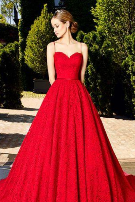 Red Lace Prom Dress,Sweetheart Ball Gown,Custom Made Evening Dress