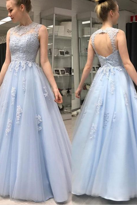 Beautiful Charming Light blue round neck tulle lace long prom dress, evening dress