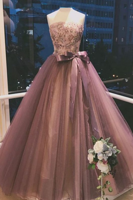 Glamorous Ball Gown Prom Dresses, Strapless Embroidery Prom Dress,Bowknot Sexy Beautiful Prom Dress