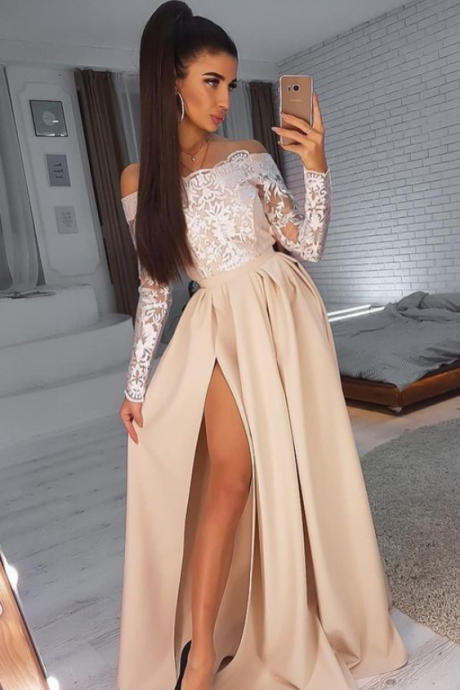 Simple Satin Long Prom Dress Lace Off-Shoulder Long Sleeves With Slit,Simple Prom Gown