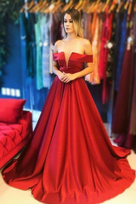 A-Line Off the Shoulder Sleeveless Red Long Prom Dress