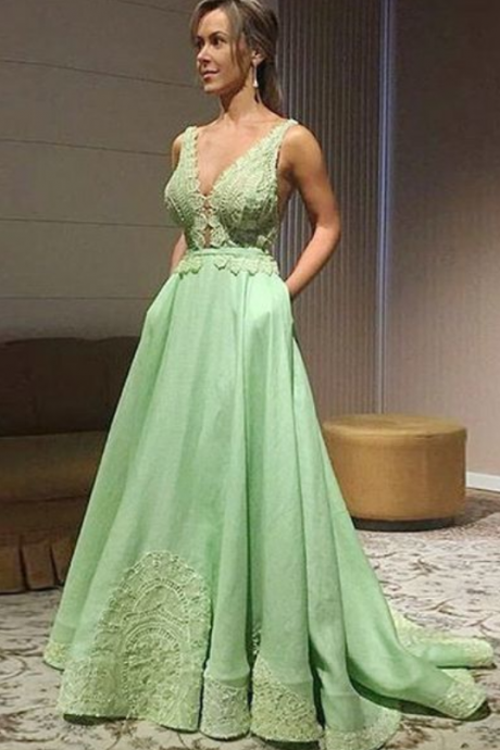 A-Line V-Neck Sweep Train Mint Satin Prom Dress with Appliques Pockets,Simple Prom Gown