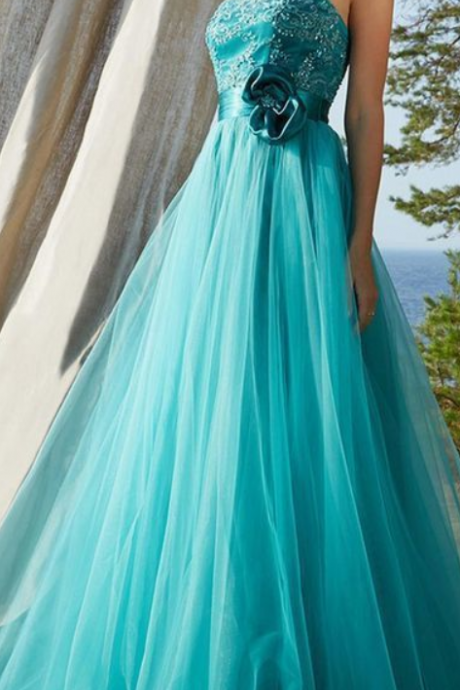 Strapless Blue Tulle Appliques Long Prom Dress, Elegant Formal Evening Dress