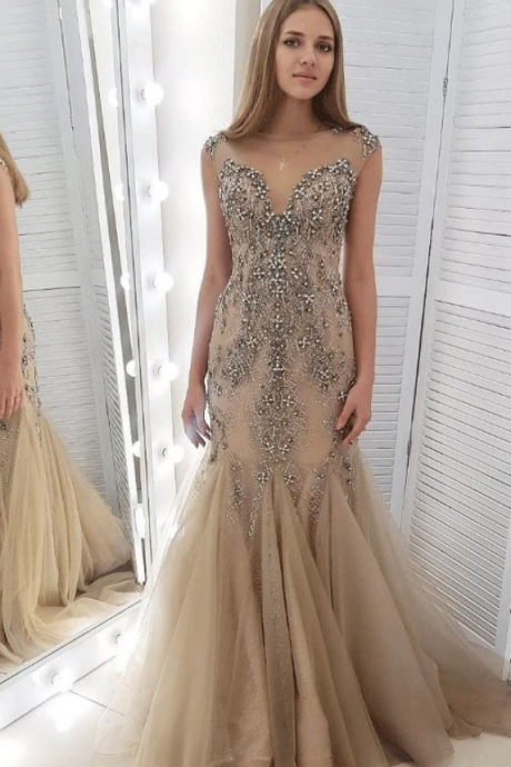 Customized Fashion Crystal Beading Tulle Mermaid Evening Dress, Formal Girl Long Prom Dress,Women Evening Dress