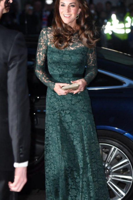 Kate Hunter Green Evening Dress, Full Lace Illusion Long Sleeves Prom Dresses,Formal Mother Holiday Wear Prom Party Gown Custom Made Plus Size