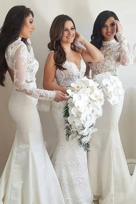 Sexy White Lace Illusion Mermaid Bridesmaid Dresses, Satin Long Sleeves High Neck Satin Appliques Bridesmaid Dress
