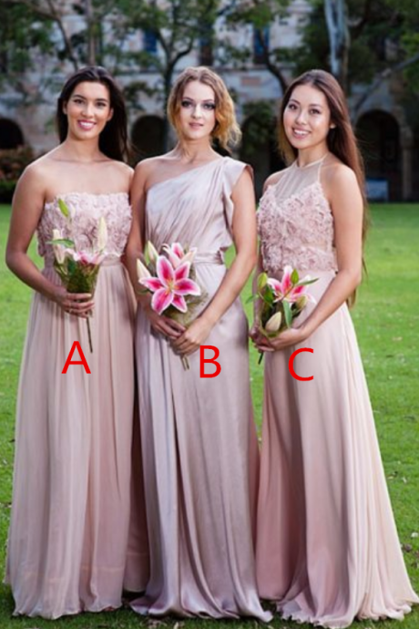 A-Line Sleeveless Pink Chiffon Bridesmaid Dresses with Appliques
