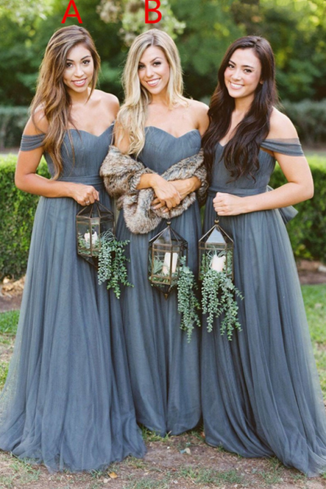 Custom Made A-Line Tulle Bridesmaid Dresses,Floor Length Mismatched Bridesmaid Dress