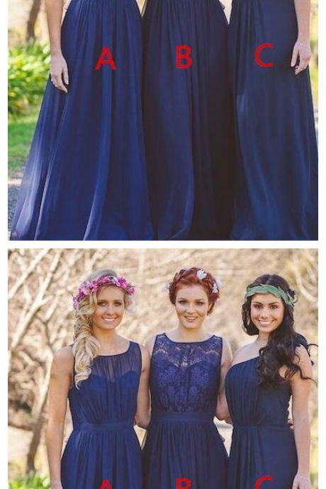 Royal Blue Lace Sheer Neck Mermaid Bridesmaid Dresses Chiffon Sleeveless A Line Maid of Honor Gowns