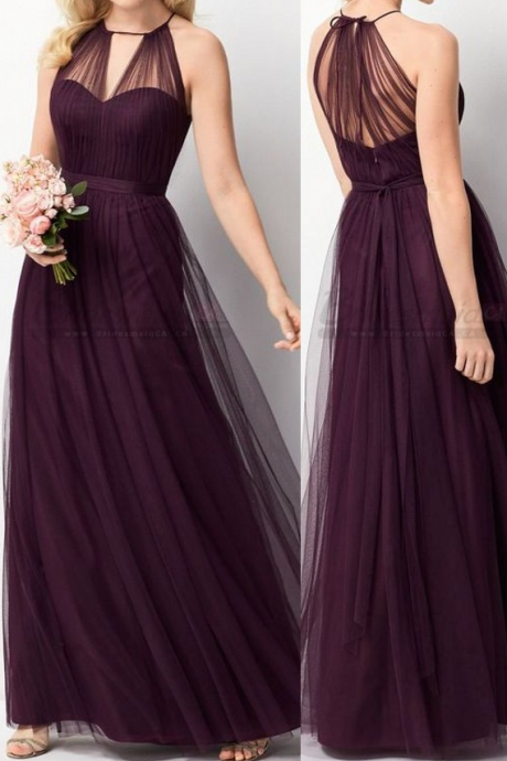 Grape Tulle Bridesmaid Dress,Vintage Tulle Wedding Party Dress, Bridesmaid Dresses