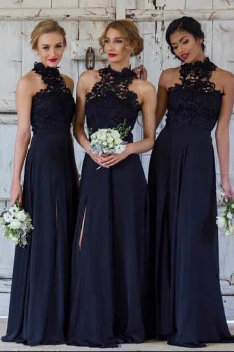 New Design Elegant A-line Halter Dark Navy Bridesmaid Dresses,Chiffon Long Bridesmaid Dress with Slit Floor Length Party Dress, High Quaality Prom Dress