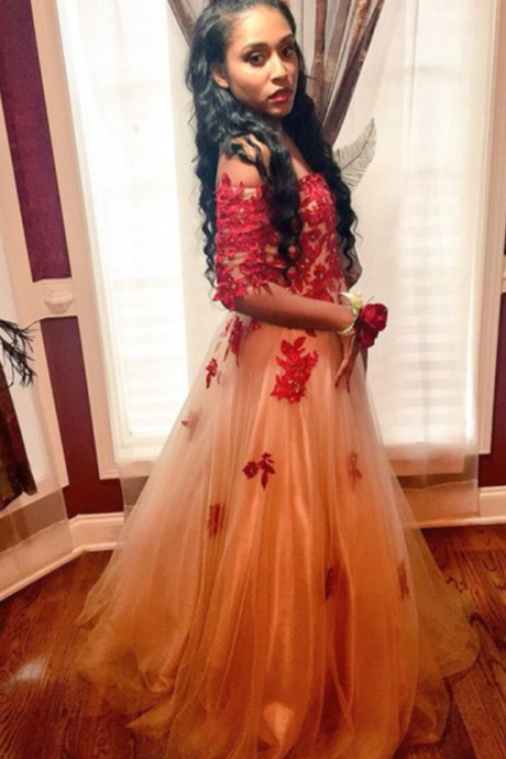 Fashion Prom Dresses,Champagne Prom Dress,Tulle Formal Gown,Red Prom Dresses,Lace Evening Gowns,Lace Formal Gown For Teens,Lace Appliques Women Evening Dress